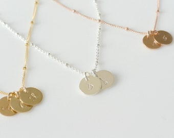 Beaded Initial Necklace, Personalized Initial Necklace, Silver Gold Rose Gold Necklace, Satellite Chain Necklace, Everyday Layering Necklace