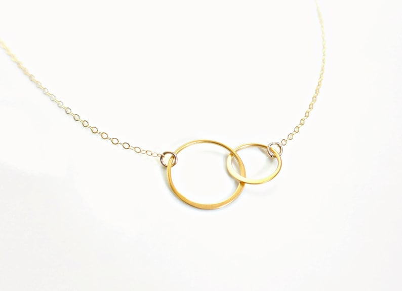 65e5de6876a45 Interlocking Circles Necklace 14k Gold Fill -Two Connected Infinity Circles  Necklace, Double Rings, Best Friend Necklace, Couples Necklace