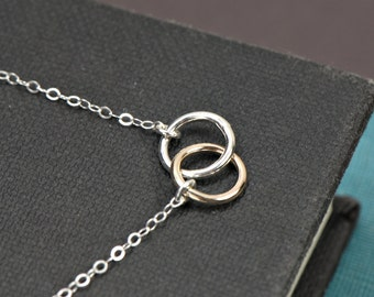 Mixed Double Ring Necklace, SILVER and GOLD Mixed Metals Necklace, Interlocking Rings, Double Ring, Bridesmaid Jewelry