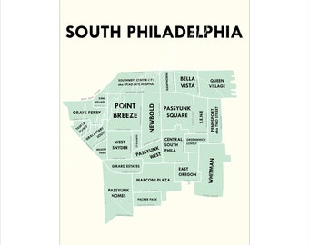 Map Of South Philadelphia South philly map | Etsy