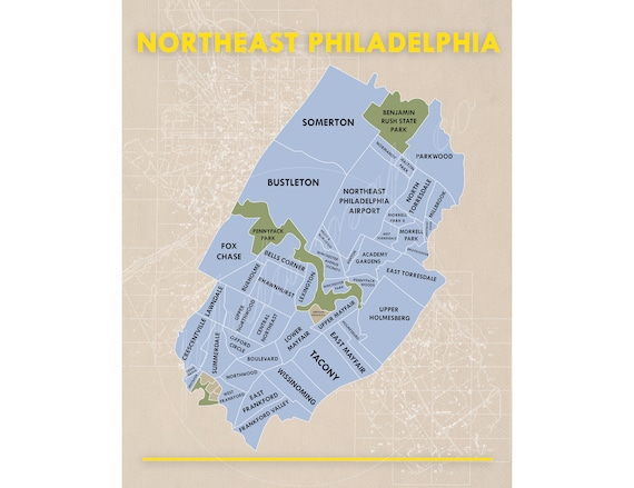 map of northeast philadelphia Northeast Philadelphia Neighborhoods Map Etsy map of northeast philadelphia