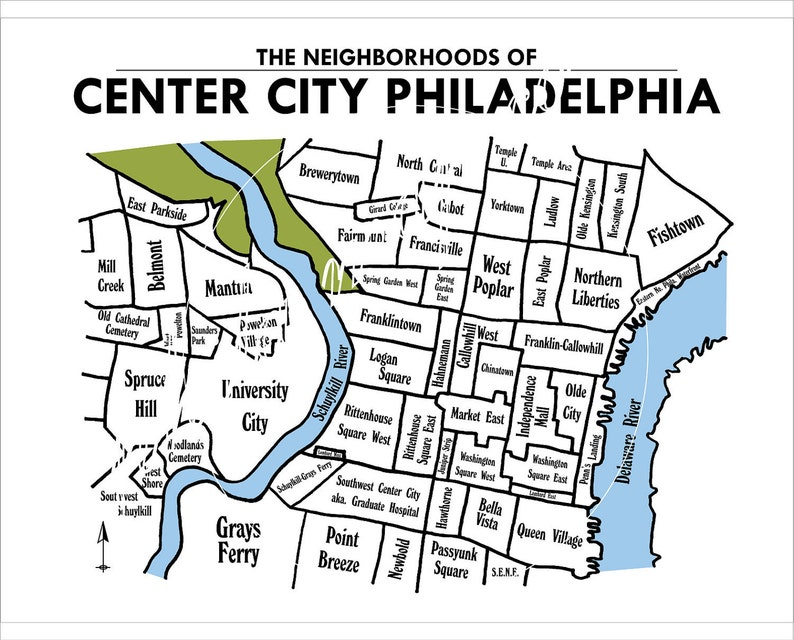 Center City Philadelphia Neighborhoods Map | Etsy on