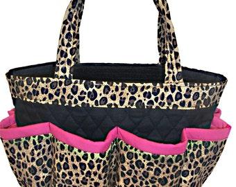 a3c4444c7bfa Cheetah Bingo Bag with Pink Trim    Craft Organizer    Makeup Organizer     Caddy    Teacher Tote    Nurse Tote