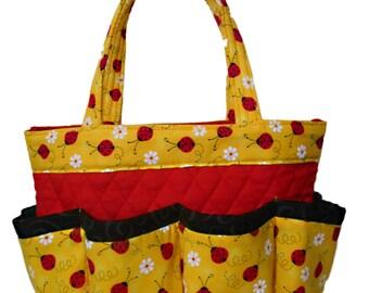 Lady Bugs in Yellow Bingo Bag    Craft Organizer    Makeup Organizer     Caddy    Teacher Tote    Nurse Tote d5ac4c2cc7