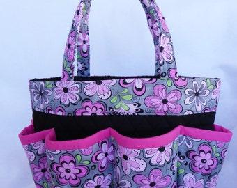 ac3797f97506 Pink   gray madison floral Bingo Bag    Craft Organizer    Makeup Organizer     Caddy    Teacher Tote    Nurse Tote