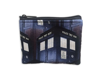 Tardis passport holder Doctor Who Fabric Dr Who comic book fabric coin purse coin pouch gadget case small zipper pouch change purse