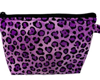 Purple Cheetah Print Makeup Bag