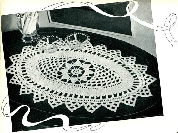 Vintage 1940s Oblong Crocheted Doily Pdf Crochet Pattern Etsy