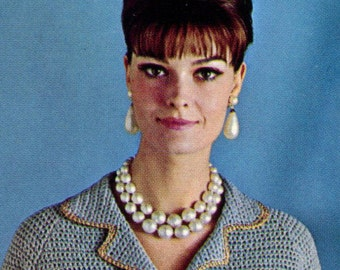 Women's Retro Crocheted Suit with Contrasting Trim -- PDF CROCHET PATTERN