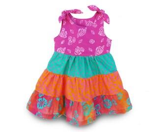Ruffle Toddler Dress, Batik Girls Dress, Boho Ruffle Dress, Toddler Peasant Dress, Boho Batik Dress