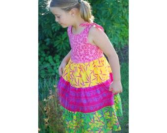 Batik Girl Dress, Floral Peasant Dress, Floral Batik Dress, Toddler Floral Dress, Girl Peasant Dress
