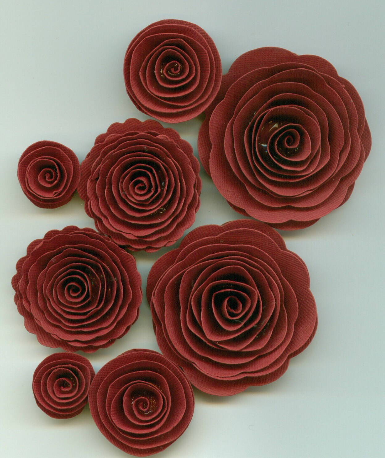 Crimson Red Rose Handmade Spiral Paper Flowers From Crazy2becrazy On