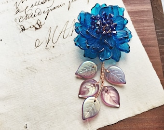 The New Year Special Mermaid Blue Peony Brooch