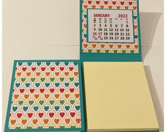 Sticky Note Pad 2022 Calendar Set of 2 Hearts Rainbow Turquoise Stocking Stuffers Table Favors Coworkers Teachers Random Kindness 3 x 3