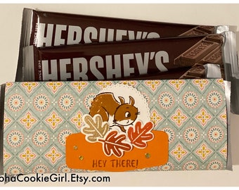 Handmade Chocolate Bar Wrappers Fall Squirrel Leaves Just Because Orange Mint Brown Set of 6 USPS UPS Coworkers RAK Caregivers Thanks
