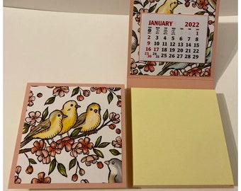 Sticky Note Pad 2022 Calendar Set of 2 Birds Flowers Nature Pink Desk Calendar Stocking Stuffers Table Favors Coworkers Teachers RAK 3 x 3
