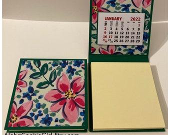 Sticky Note Pad 2022 Calendar Set of 2 Happy Flowers Green Pink Desk Calendar Stocking Stuffers Table Favors Coworkers Teachers RAK 3 x 3