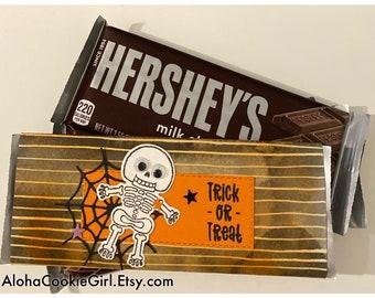 Handmade Halloween Chocolate Bar Wrappers Black Orange Stripes Googley Eyes Ghost Dracula Mummy Set of 6 Classroom Coworkers Customer Treats