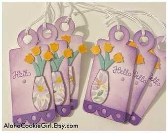 Handmade Gift Tags All Occasion Watercolor Vase Peach Tulips Hello Thank You Girls Night Bridal Shower Teacher set of 6