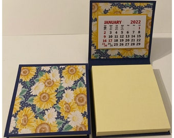 Sticky Note Pad 2022 Calendar Set of 2 Sunflowers Navy Yellow Stocking Stuffers Table Favors Coworkers Teachers Random Kindness 3 x 3