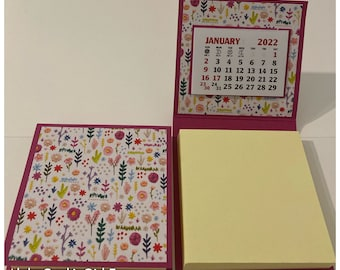 Sticky Note Pad 2022 Calendar Set of 2 Needlepoint Flowers Leaves Stocking Stuffers Table Favors Coworkers Teachers Random Kindness 3 x 3