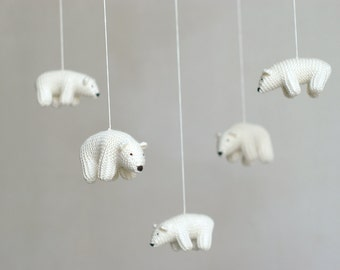 baby mobile /  Polar bear mobile / nursery mobile / crib mobile