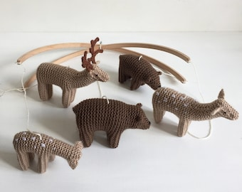 baby mobile Bear and Deer mobile - woodland nursery mobile - forest animals mobile