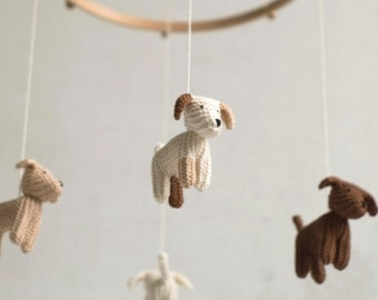 Baby mobile - dog mobile - FLYING PUPPIES- baby shower gift - nursery mobile - baby crib mobile