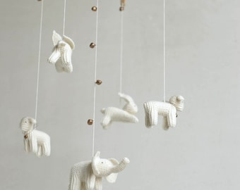 baby mobile / WHITE ANIMALS mobile / knitted  animals mobile /  nursery mobile