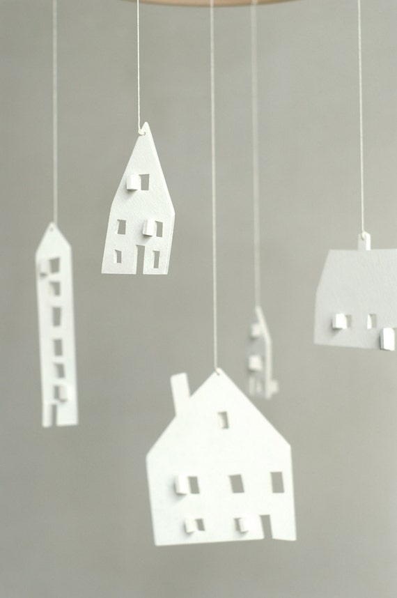 baby mobile nursery mobile wooden house mobile house etsy