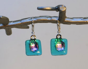 Caribbean Blue and Pink Dichroic Fused Glass Chicklet Earrings