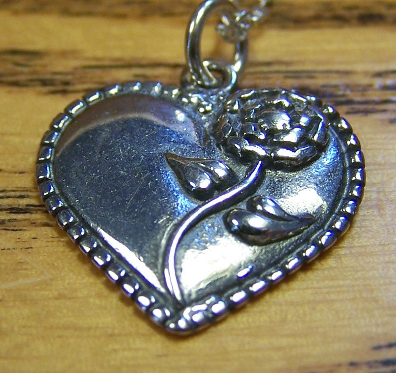 SALE  Silver Heart Rose Necklace Sterling Silver Pendant image 0