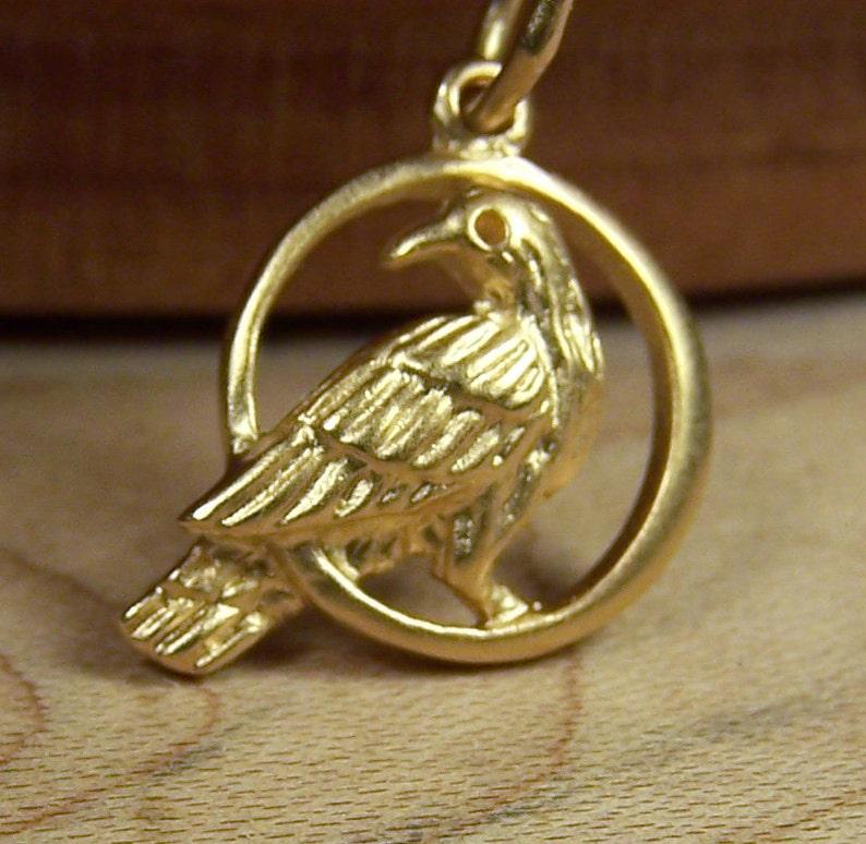 Gold Eagle on Moon Charm Pendant Necklace 24K Gold Vermeil image 0
