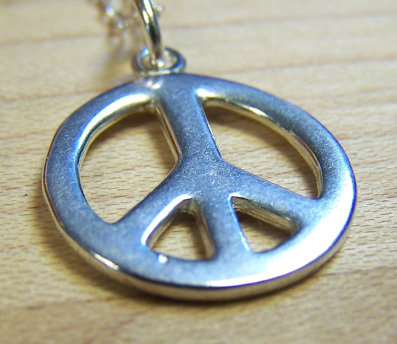 Sterling Silver Peace Charm Necklace Peace Symbol End War image 0