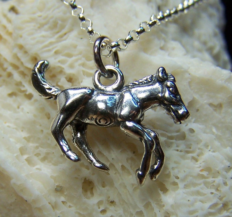 SALE  Horse Necklace Sterling Silver Charm Animal Jewelry image 0