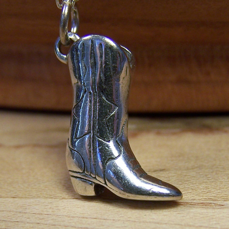 Silver Cowboy Boot Charm Pendant Sterling Silver Charm image 0