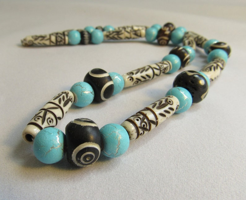 Chunky Bone Necklace for Men or Women Earthy White Black image 0