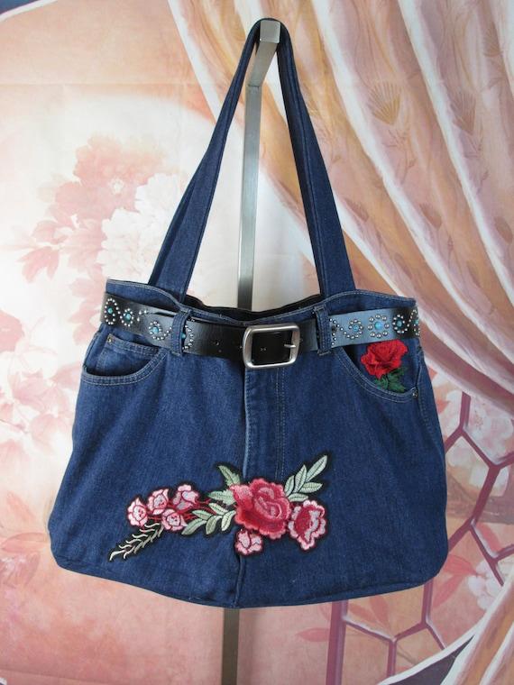Onwijs Custom Recycled jeans Tote bag Blue Denim shopper Shoulder   Etsy WH-54