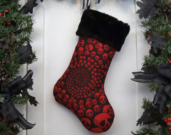 Infinity Skulls Christmas Stocking, Goth Punk Halloween, Black and Dark Red, Black Faux Fur, Black Canvas Liner, Dark Christmas