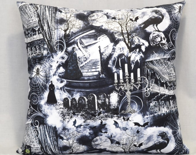 Haunted Theater 18 Inch Throw Pillow, Gothic Home Decor, Ravens, Skulls, Bats, Horror Fan, Halloween Spooky, Black and White, Wicked