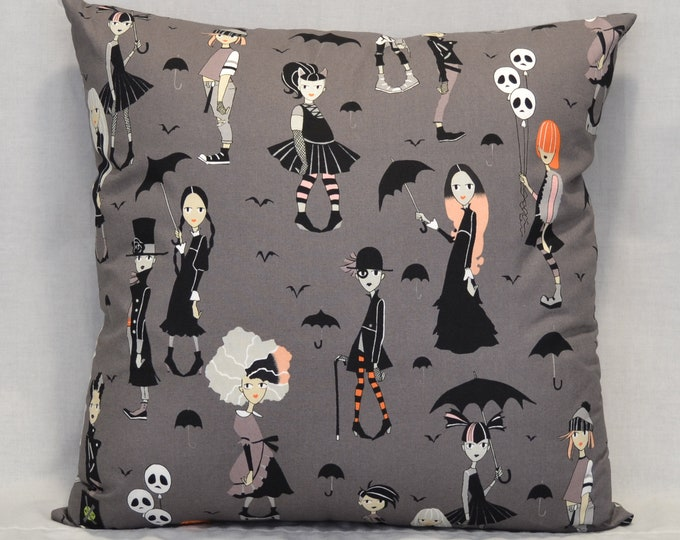 Goth, Punk Rock Throw Pillow, 18 Inch, Going Goth, Charcoal, Black, Gothic Home Decor, Goth Style, Hidden Zipper