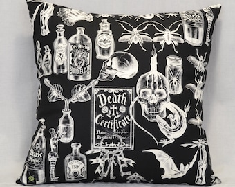 Dark Magic 18 Inch Throw Pillow, Gothic Home Decor, Horror Punk, Voodoo, Witchcraft, Occult, Halloween Decorative Pillow, Skulls, Bugs