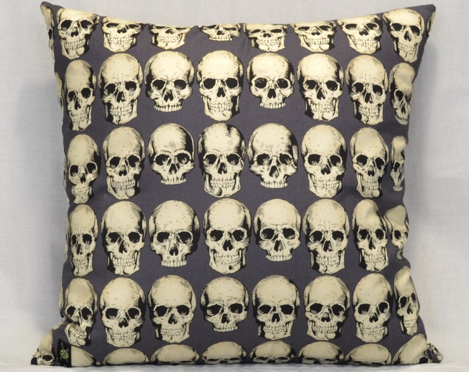 Realistic Skulls 18 Inch Throw Pillow, Goth Punk Home Decor, Anatomical Skulls, Halloween Pillow, Dark Gray, Horror Fan, Hidden Zipper