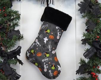Halloween Christmas Stocking, Frankenstein, Mummy, Black Cats, Pumpkins, Skeletons, Ghosts, Cute Halloween Fun, Kids Stocking