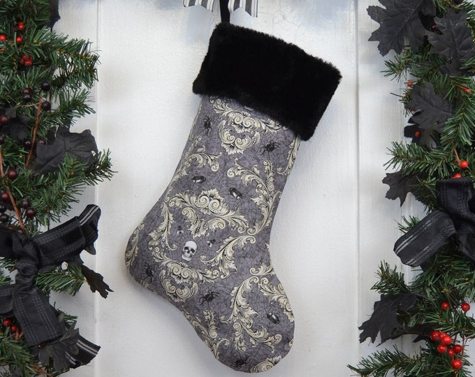 Gothic Skull Damask Christmas Stocking, Halloween Goth Punk, Spiders Beetles Flies, Gray and Cream, Black Faux Fur