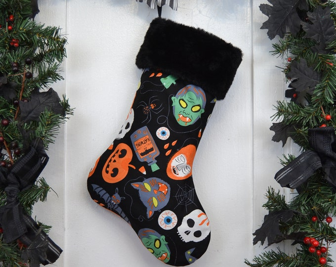 Halloween Masks Christmas Stocking, Goth, Horror Punk, Gothic Home Decor, Black Faux Fur, Dark Christmas, Vintage Halloween
