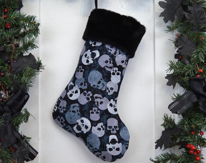 Skater Punk Boy Christmas Stocking, Skulls, Black and Blue, Goth, Black Faux Fur, Dark Christmas, Horror Fan, Halloween