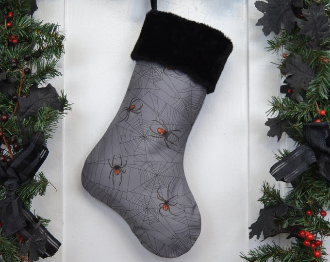 Realistic Spiders Christmas Stocking, Halloween, Goth, Horror Punk, Gothic Home Decor, Black Faux Fur, Dark Christmas
