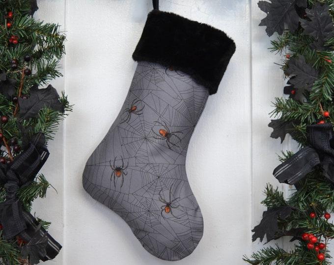 Realistic Spiders Christmas Stocking, Halloween, Goth, Horror Punk, Gothic Home Decor, Black Faux Fur, Dark Christmas