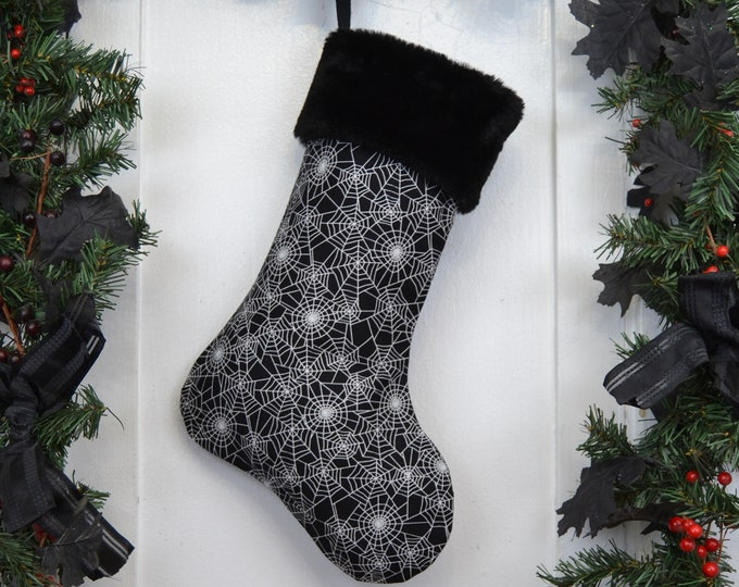 Glow-in-the-Dark Spider Webs Christmas Stocking, Halloween, Goth, Horror Punk, Spooky Kids, Black Faux Fur